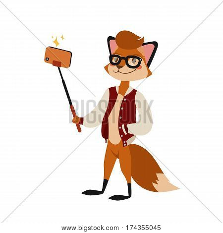 Funny picture fox photographer mamal person take selfie stick in his hand and cute animal taking a selfie together with smartphone camera vector illustration. Camera photo pet character.