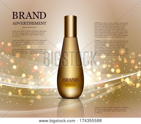 Cosmetic ads template, Realistic Cosmetic bottle. Gold parfume bottle mockup on dazzling background. Golden foil and bokeh elements. 3D illustration.