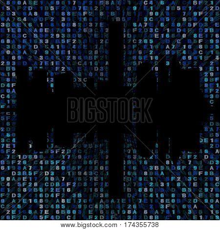 Houston skyline silhouette on hex code illustration