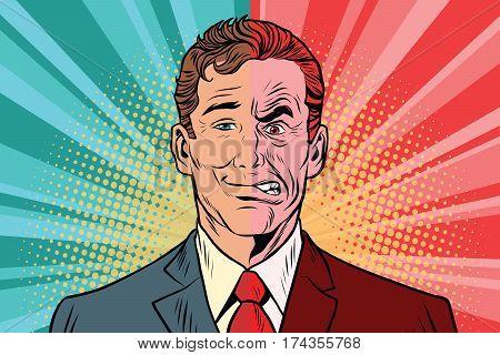 Bad good man. Human emotions. Vintage comics cartoons illustration pop art retro vector