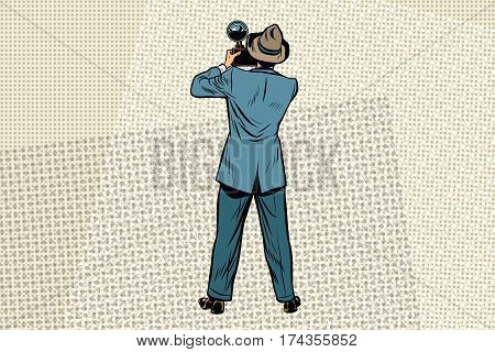Retro photo journalist paparazzi. Vintage comics cartoons illustration pop art retro vector