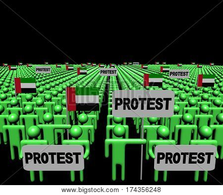 Crowd of people with protest signs and UAE flags 3d illustration