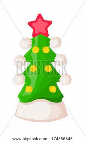 Santa Claus hat in form of green Christmas tree with star isolated on white. Winter fur woolen cap in style of fir tree. Flat icon winter headwear warm accessory in cartoon vector illustration