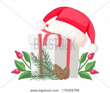 Santa Claus hat lying on white gift bow with red ribbon near evergreen spruce tree with branch of canker-rose and cone. Vector illustration set with cartoon Christmas elements in flat design