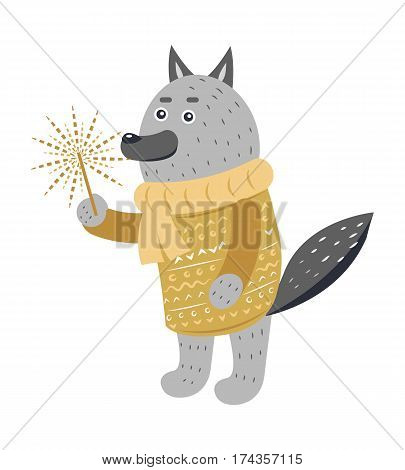 Grey wolf in warm winter yellow sweater and scarf with burning sparkler in one paw on white. Vector illustration of standing wild beast spending holidays and celebrating New Year in cartoon style