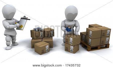 3D Render of men packing boxes for shipment