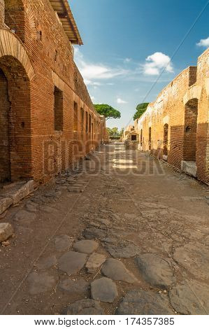 Roman Path At Ostia Antica Italy
