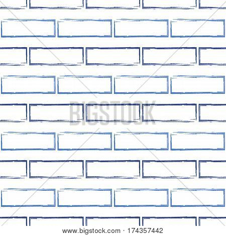 Stylized brick wall vector background. Abstract blue bricks seamless pattern. Can be used for graphic design pattern fill packaging clothing printing on surfaces