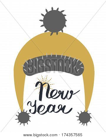 NewYear at with strings ending in pompoms isolated on white. Winter fur woolen cap. Unisex warm funny headwear with trim and ball on top. Flat icon winter snowboard accessory in cartoon style vector