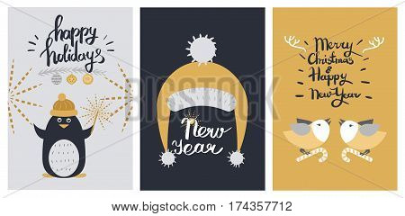 Happy holidays and New Year colourful poster of three pictures. Vector illustration of penguin with sparklers on grey, yellow cap on black and birds with candy canes in paws on yellow background