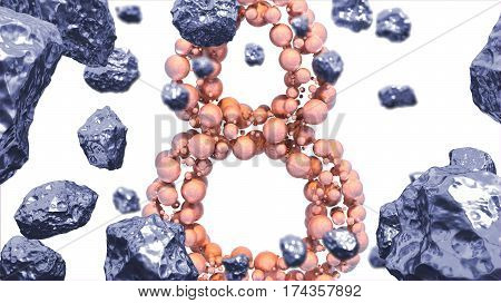 8 March symbol. Figure of eight made of spheres flying in the space with asteroids. Can be used as a decorative greeting grungy or postcard for international Woman's Day. 3d illustration.