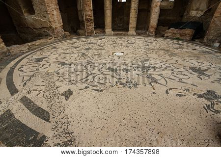 Roman Mosaic Floor At Ostia Antica Italy
