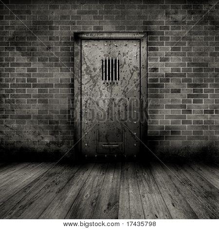 Grunge style interior with a prison door