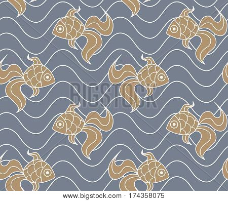 Colorful seamless sea pattern with fish. Goldfish on blue background.