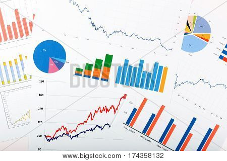 business finance analytics - papers with graphs and charts