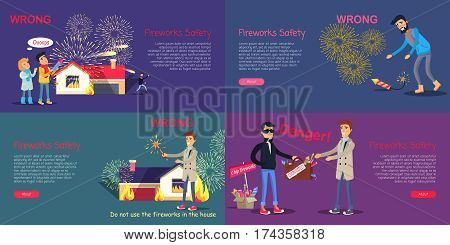 Fireworks safety. Web banner of wrong acting with pyrotechnics and danger during buying counterfeit. Vector set of children using rocket incorrectly, man picking up blazing harmful firecracker