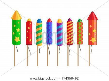 Kinds of amazing fireworks. Pyrotechnic set with rockets and fireworks for festivals, parties. Celebration of any occasions salute elements pyrotechnic devices. Vector illustration banner in flat style