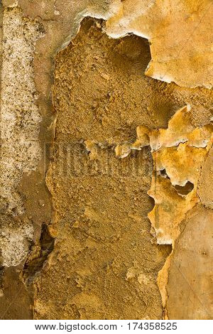 Distressed Peeling Wall Paper And Plaster Background.