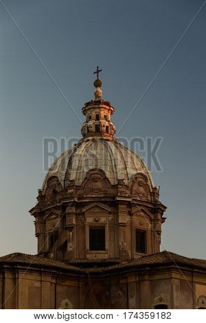 Church Dome Catching Last Light Of Day