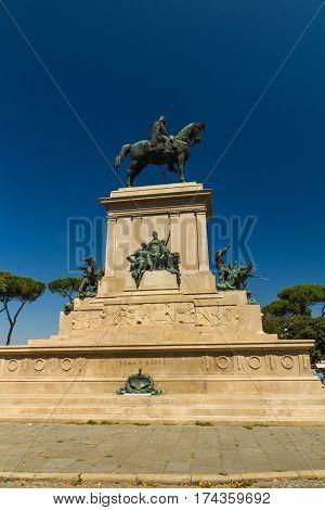 Monument to Giuseppe Garibaldi on Janiculum hill Rome Italy.