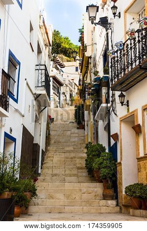 Stairway leading up to Santa Barbara mountain in Alicante old historic distric Santa Cruz old white houses blue flowerpots balconies railings