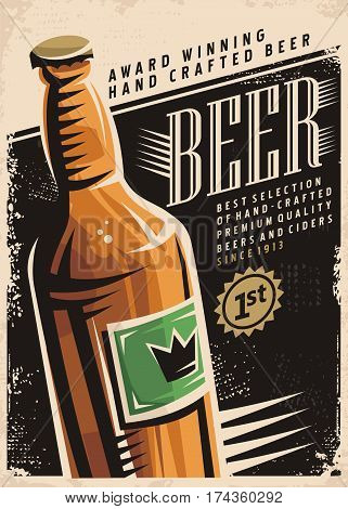 Beer retro poster layout with beer bottle and creative typography on black background. Promotional vector illustration for pub or cafe bar with popular hand crafted drink on old paper texture.