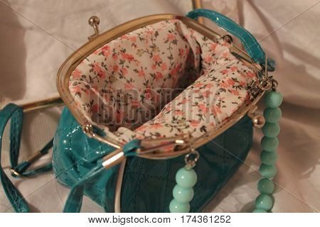 beautiful capacious turquoise color purse with floret material in side for save money