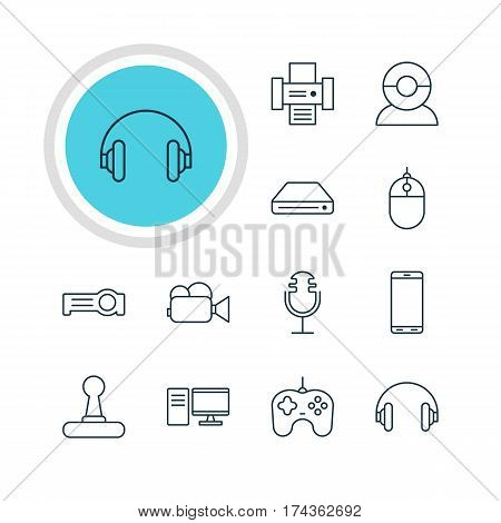 Vector Illustration Of 12 Accessory Icons. Editable Pack Of Joypad, Cursor Controller, Memory Storage And Other Elements.