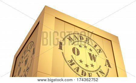 Import - Export Wooden Crate. Made In Iowa. 3D Illustration