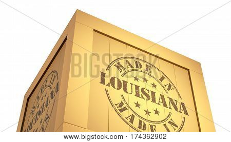 Import - Export Wooden Crate. Made In Louisiana. 3D Illustration