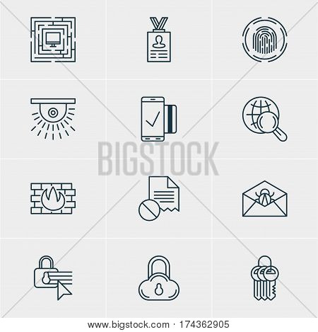 Vector Illustration Of 12 Privacy Icons. Editable Pack Of Internet Surfing, Confidentiality Options, Key Collection And Other Elements.