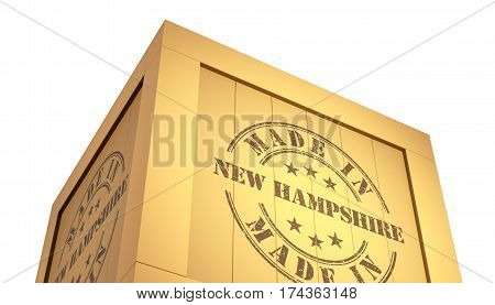 Import - Export Wooden Crate. Made In New Hampshire. 3D Illustration