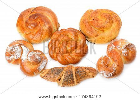 croissant and sweet rolls isolated on white background