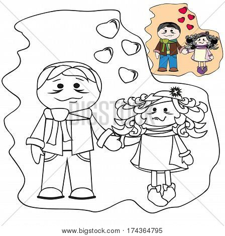 Coloring with template - people in love. Brunettes