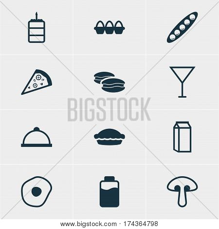 Vector Illustration Of 12 Dish Icons. Editable Pack Of Martini, Lactose, Biscuit And Other Elements.