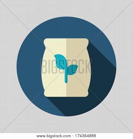 Fertilizer flat vector icon isolated Present By Green Nitrogen Potassium Phosphorus and Leaf Sack eps 10
