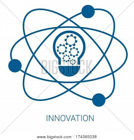 Innovation vector blue flat icon on white background.