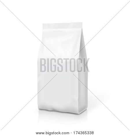 White foil or paper food stand up snack bag clipping path. Blank sachet packaging illustration. Vector isolated mock up template