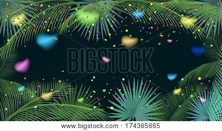 Tropical palm tree leaves abstract background with colorful confetti, hearts, bright sparkles, frame. Carnival, festive Vector illustration. Exotic palm tree green leafs frame on white background. Holiday Night Party decoration
