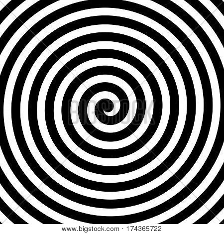 Vector spiral background in black and white. Hypnosis theme. Abstract design element.