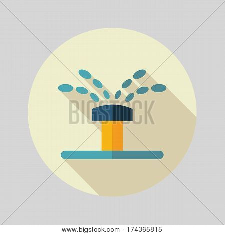 Water sprinkler irrigation flat vector icon outline isolated garden eps 10