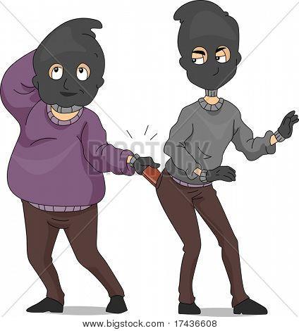 Illustration of a Pickpocket Taking Another Pickpocket's Wallet