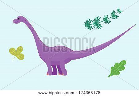 Dinosaur diplodocus cartoon vector illustration. Cartoon dinosaurs cute monster funny animal and prehistoric character dinosaur. Cartoon comic fantasy dinosaur reptile