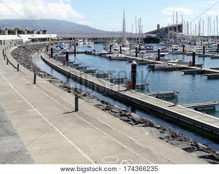 Marina of Ponta Delgada, Sao Miguel, Azores, Portugal