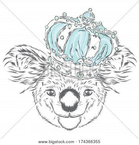 Koala in the crown. Vector illustration. King.