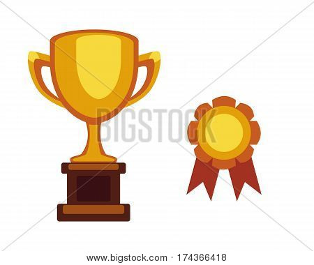 Vector trophy champion cup flat icon. Winner award medal and victory prize. Sport or shool success and best win golden leadership award competition.