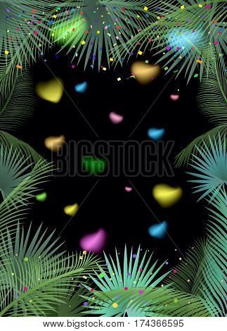 Confetti poster. Abstract background with colorful confetti, bright sparkles, palm tree leaves frame. Vector Night Party illustration. Tropical, exotic palm tree leaves frame on black background.