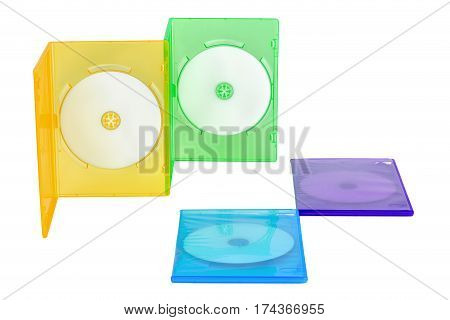 Four multicolored CD boxes on isolated background