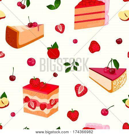 Homemade organic berry pie dessert vector illustration. Fresh golden rustic gourmet bakery. Traditional slice crust delicious. Seasonal tasty warm baked seamless pattern