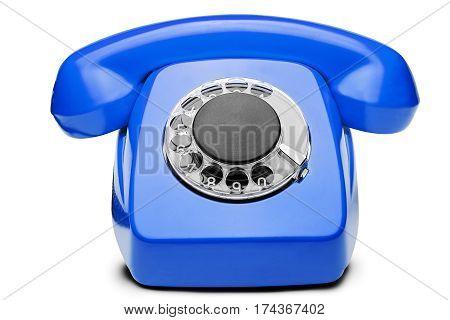 Landline Blue  Phone On A Isolated White Background